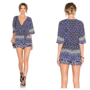 Lovers + Friends Isabelle Romper Blue Floral XS